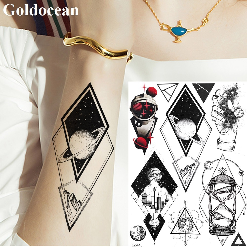 Tatuaje de muñeca grande universo geométrico Robor Diamond tatuaje temporal brazo pecho cosmético pegatinas mujeres hombres galaxia manos tatuajes