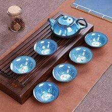 Juni Porselein Kung Fu thee set Tenmoku vis plezier thee cup erts Yixing Theepot Set 1 theepot + 6 kopjes
