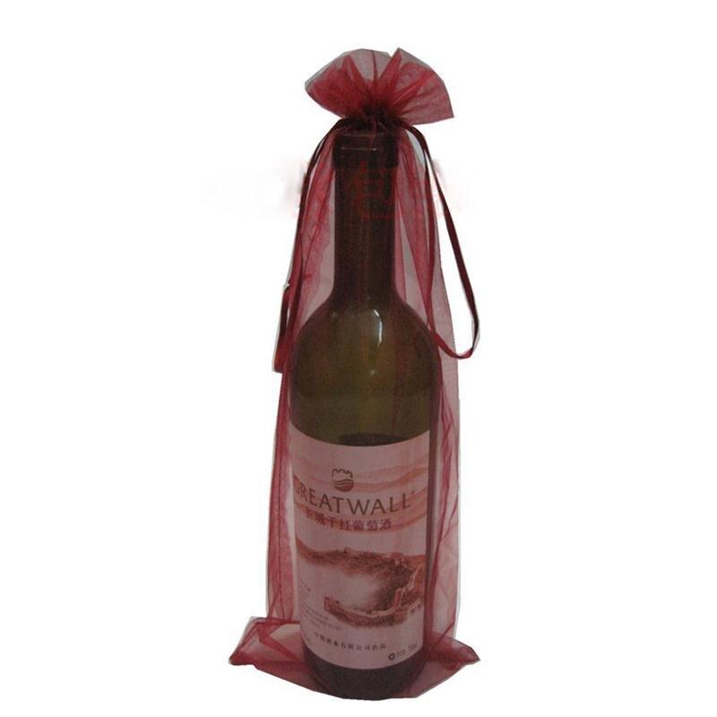 Organza pura cubierta de botella de vino bolsas de regalo Regalos de boda favores y regalos bolsa cosméticos joyería recibir bolsa proveedor de fiesta