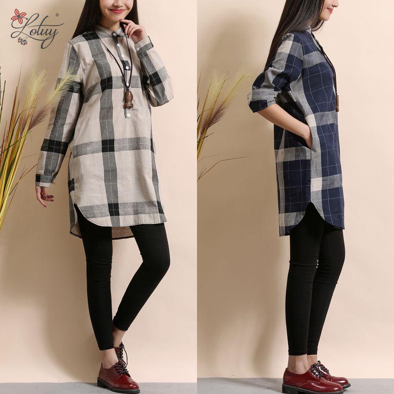 2017 Spring New Korean Women Fashion Long-sleeved Stand Collar Cotton Linen Loose Plaid Shirt Blouse Women Blouses Tops 1830#