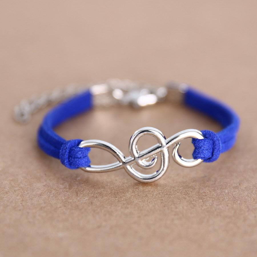 Pulsera Infinity Music, pulseras de cuero de moda, venta al por mayor, cadena de Calavera, brazaletes con cabezas, triangulación ajustable, envío