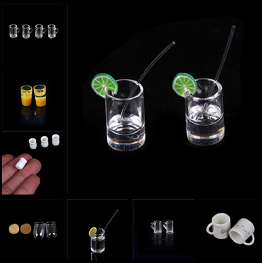 1/2/4/10 Uds 1/12 copas de vino de vidrio plato vajilla juego de juguete en miniatura para casa de muñecas muñeca comida cocina accesorios de sala