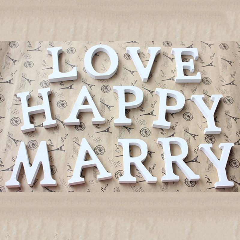 Nueva decoración de boda creativa A-Z letras de madera alfabeto palabra de pie boda fiesta decoración del hogar