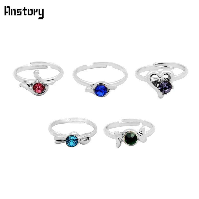 40 piezas niños anillos de cristal al por mayor lote surtido lindo chico regalo fiesta ajustable de plata Chapado en joyería de moda