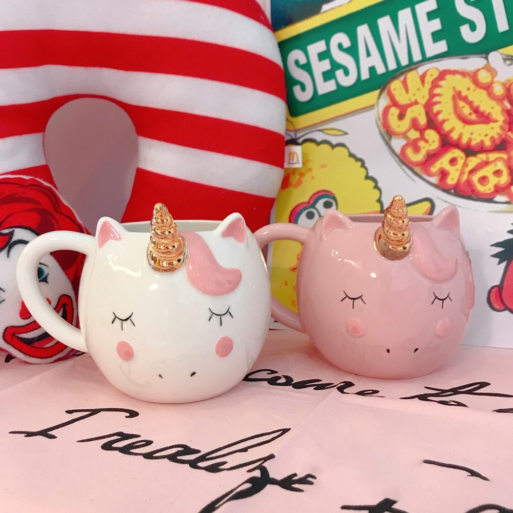 Creative Ceramic Unicorn Mug Lovely Gold Plating Horn Handle Cup Pink White Coffee Milk Tea Mugs Home Drinkware Couple Gift 1pc