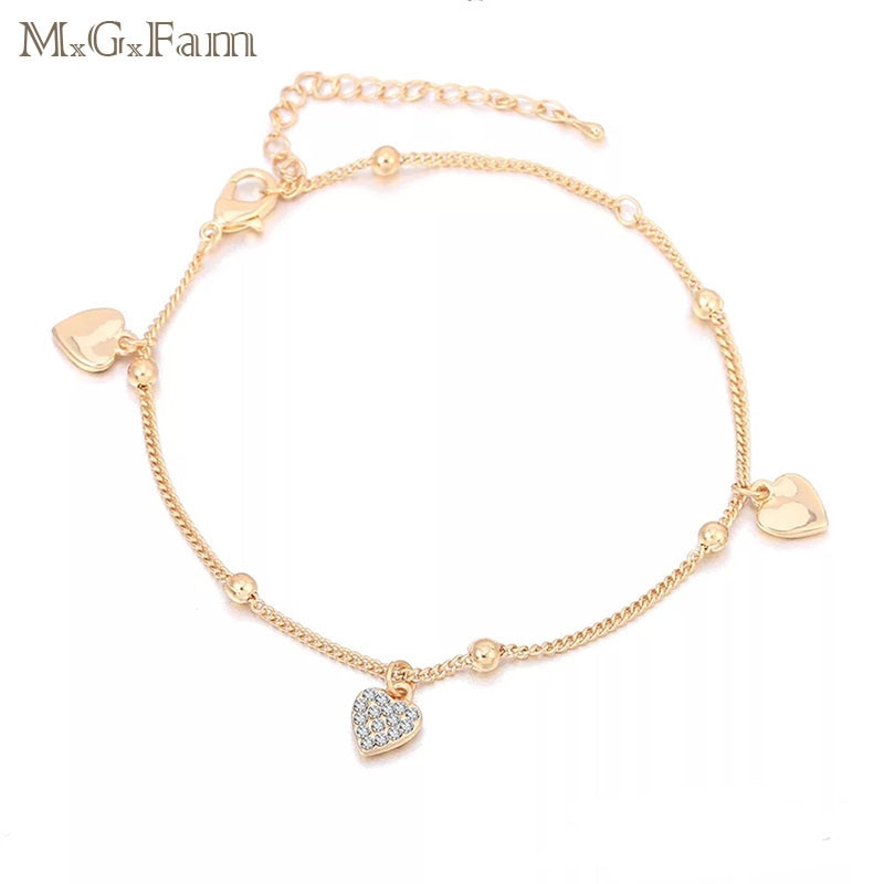 Женский браслет на щиколотке MxGxFam, 18 K, 22 см + 5,5 см, с кристаллами, без свинца и никеля