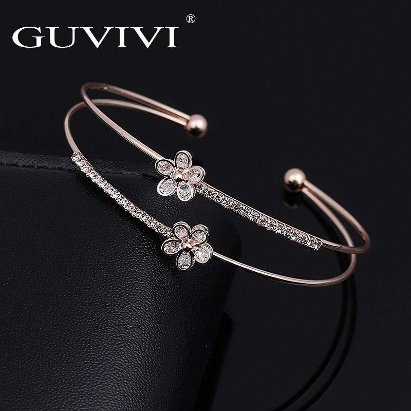 Brand Fashion Double Layers Rhinestone CZ Wrap Cuff Bangles Bracelets For Women girls Flower Wedding Pulseiras Jewelry gift