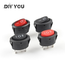 KCD1-Mini interrupteur à bascule rond   25x16.5mm 5 pièces, 2/3 broches, SPST ON-OFF ON-OFF, interrupteur à boutons électriques 6A/250VAC