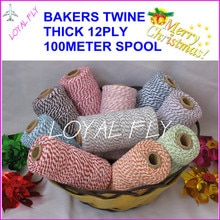 Ficelle de boulangers de coton de 25 couleurs 12ply épaisse, 100m/bobine, ficelle divine, ficelle de bricolage, utilisée dans le cadeau, carte de voeux
