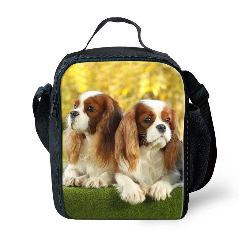 THIKIN Charles Spaniel Cão Impressão Duplas Lunch Bag Crianças Bolsa para Criança Portátil Saco Do Piquenique Refrigerador Saco de Lazer À Prova D Água