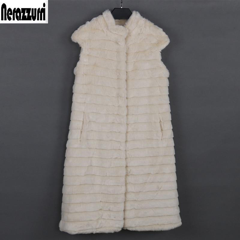 Nerazzurri faux fur vest women luxury large size stand collar beige striped waistcoat fake mink fur gilet sleeveless jacket xxxl