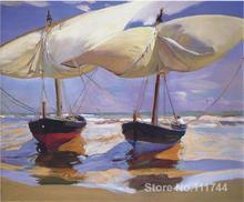 Peintures peintes à la main de haute qualité   Joaquin, Sorolla et Bastida, bateaux à perles, art de plage