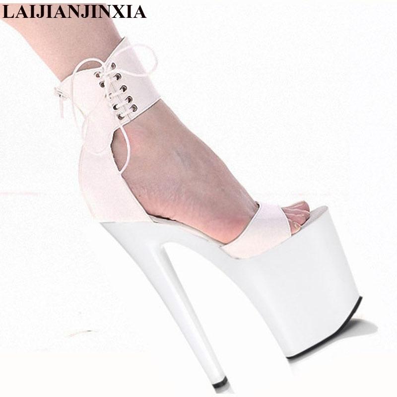 LAIJIANJINXIA nuevo clásico 20CM gladiador Sexy Super tacón alto plataformas baile en barra modelo zapatos 8 pulgadas bombas vestido zapatos de boda