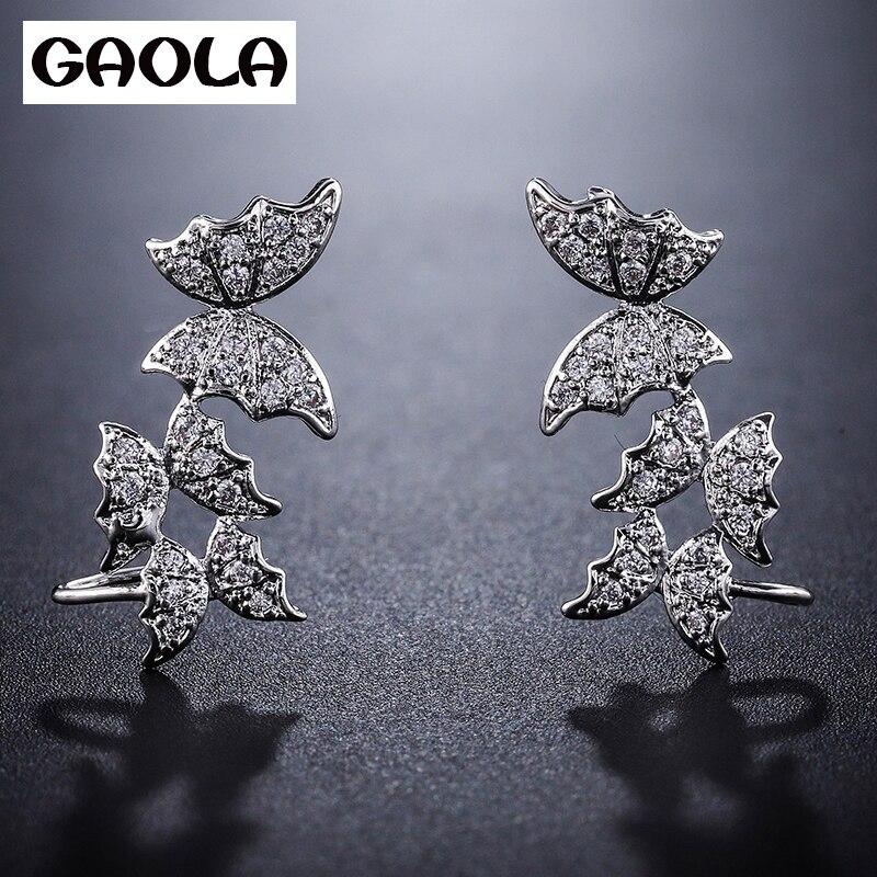 GAOLA New Cute Butterfly Oval CZ Dangle Earrings For Women Hollow Crystal Zirconia Wedding Jewelry GLE8046Y