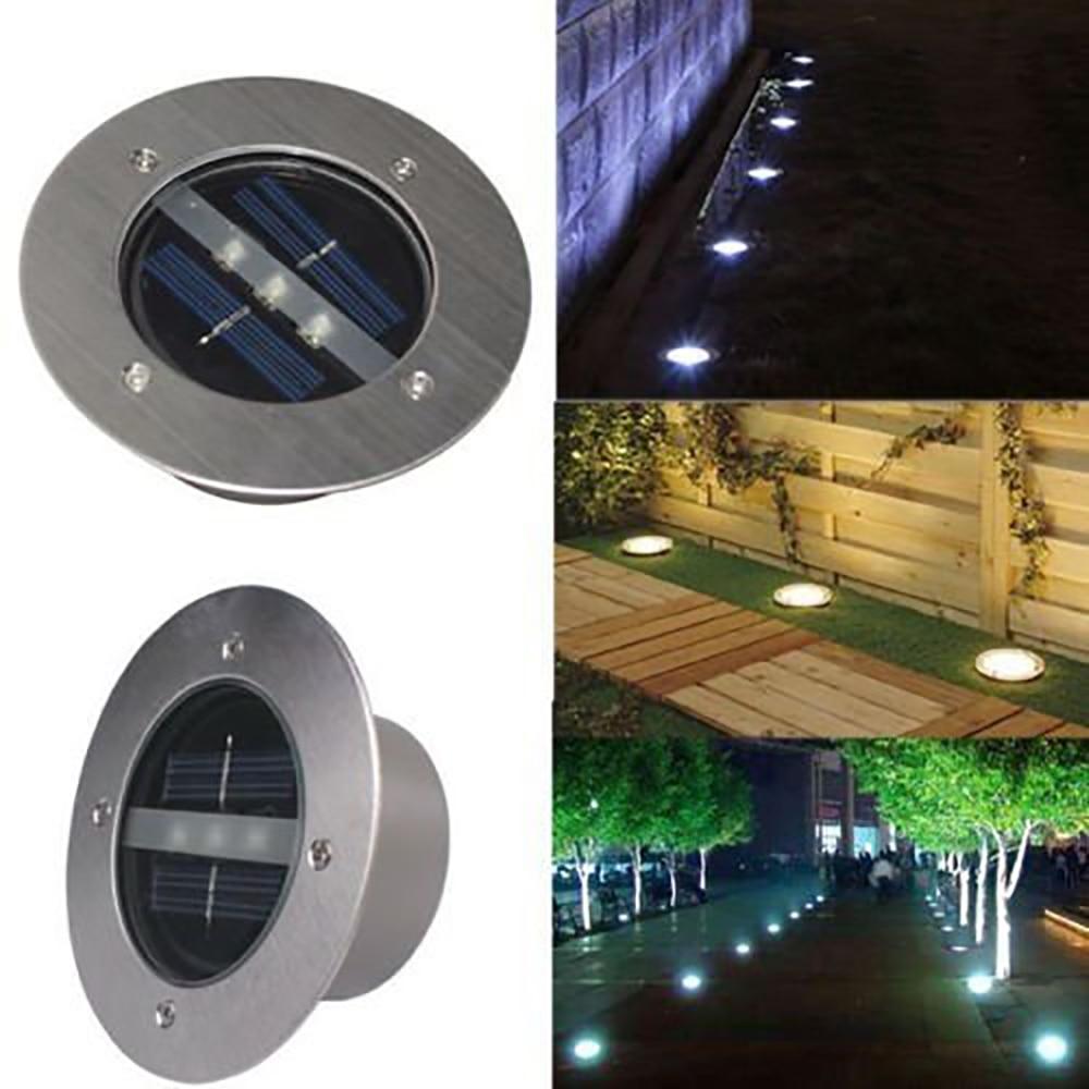 Feimefeiyou 4pcs/lot Outdoor Lighting Solar Powered Panel LED Floor Lamps Deck Light 3 LED Underground Garden Pathway Spot Light enlarge