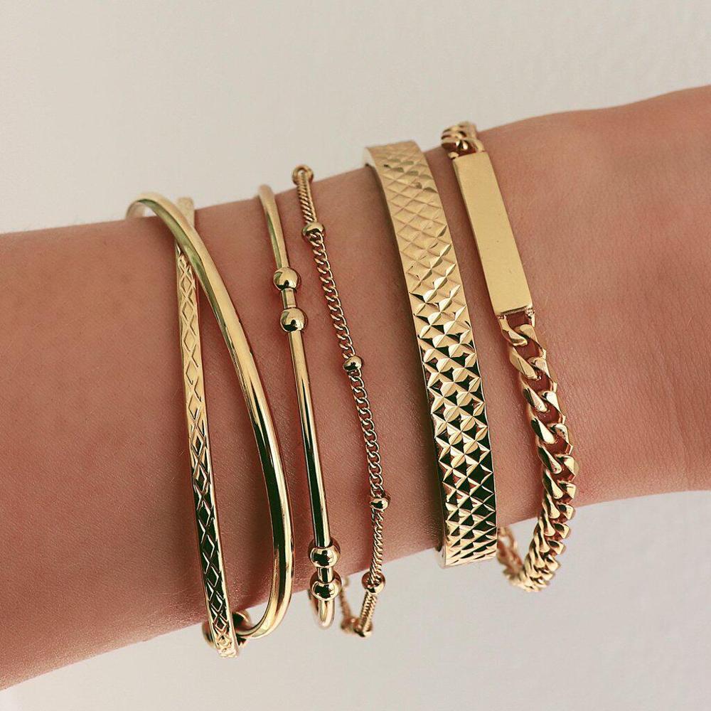 Female Bracelets Fashion Beads Cross Geometry Opening Gold Bracelet Set Simple Women Bangles Wedding Party Jewelry Accessories