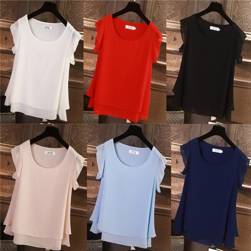 2019 nuevas blusas sueltas o-neckt-shirt camisa de chifón de ocio de obesity camisa de moda con manga de volantes S-6XL camisa de verano color sólido