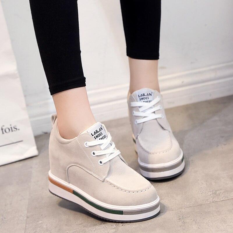 Nuevos zapatos de primavera 2016 para mujer, botas deportivas de cuero de ante de alta calidad, zapatillas transpirables para mujer, cesta de estilo británico para mujer