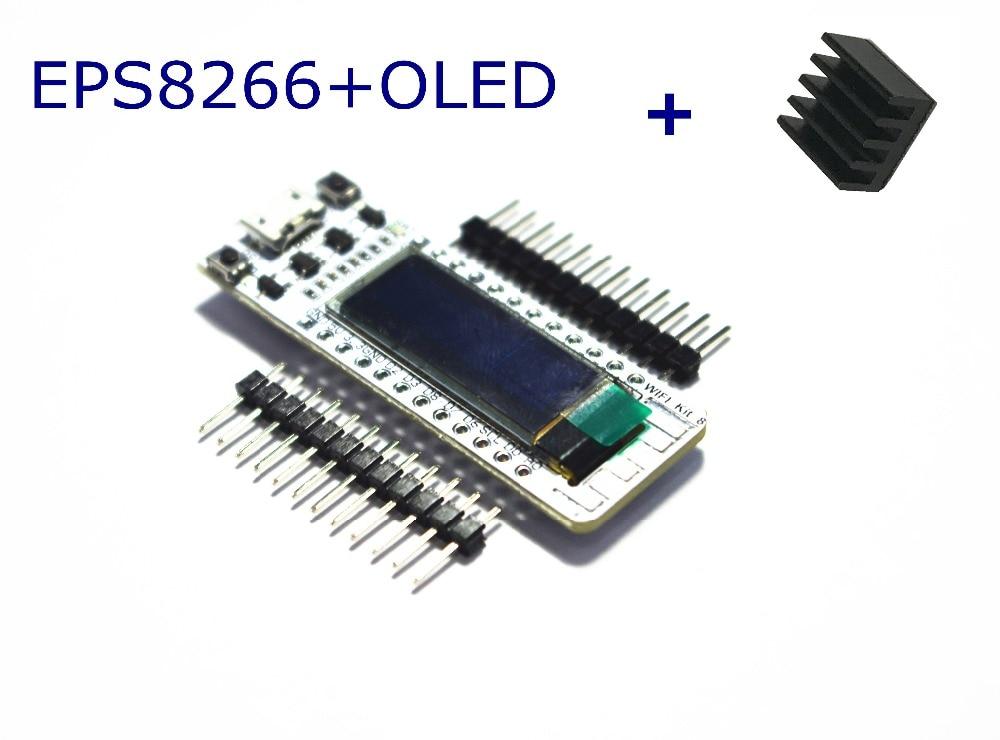 WIFI ESP8266 0.91 Inch Blue OLED Display  WIFI  Kit 32 IOT Development Board for Arduino with a heat sink