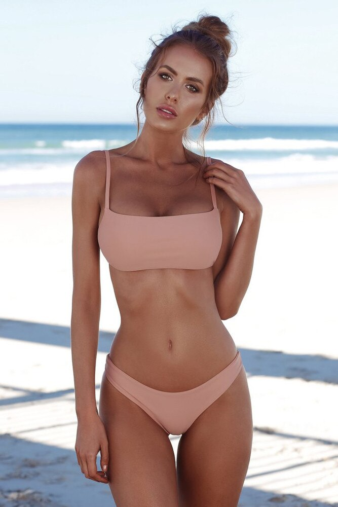 CHAMSGEND Summer women sexy three-point hanging neck bikini swimsuit solid color fashion sexy bikini swimsuit two-piece swimsuit