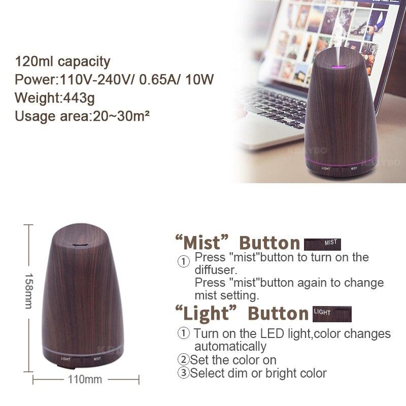 darkWood Grain Ultrasonic Humidifier for OfficeHomeBedroom Living Room 120mlUltrasonic AromatherapyDiffuser