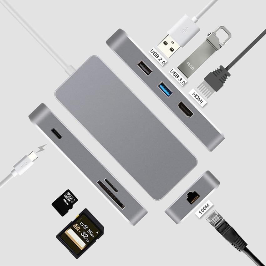 USB-C tipo C para Macbook divisor de adaptador USB 3,0 lector de tarjetas TF SD 2K Video HDMI RJ45 LAN de red Ethernet de carga