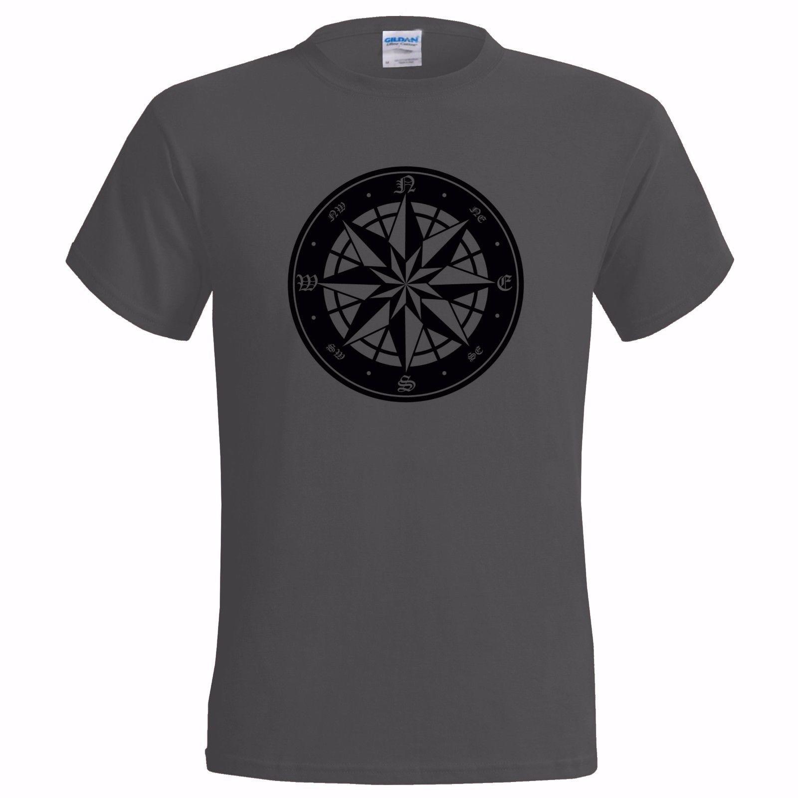 Camiseta de algodón con estampado de 100% para hombre, camiseta con diseño de brújula para hombre, camiseta para trepar y caminar por la montaña, Camiseta con estampado del ejército