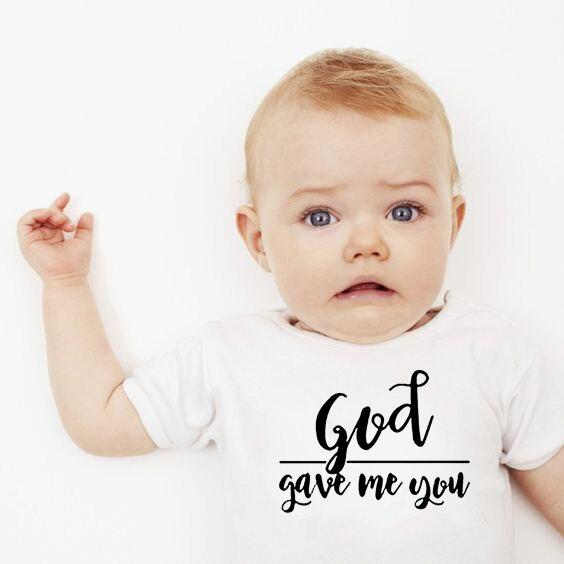 Deus me deu você bebê bodysuits algodão recém-nascido em branco manga curta 0-24 meses menino branco corpo bebes roupa roupas da menina do bebê