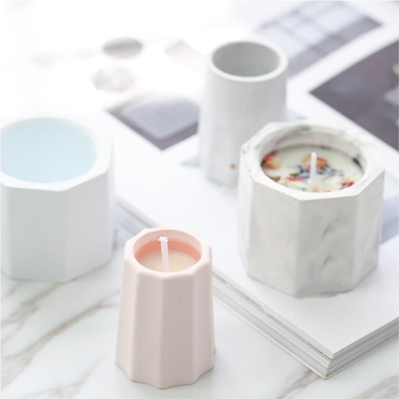 Mini Silikon Beton Mold Kerze Halter Zement Form Sukkulenten Blumentopf Form Leuchter Gips Gips Form