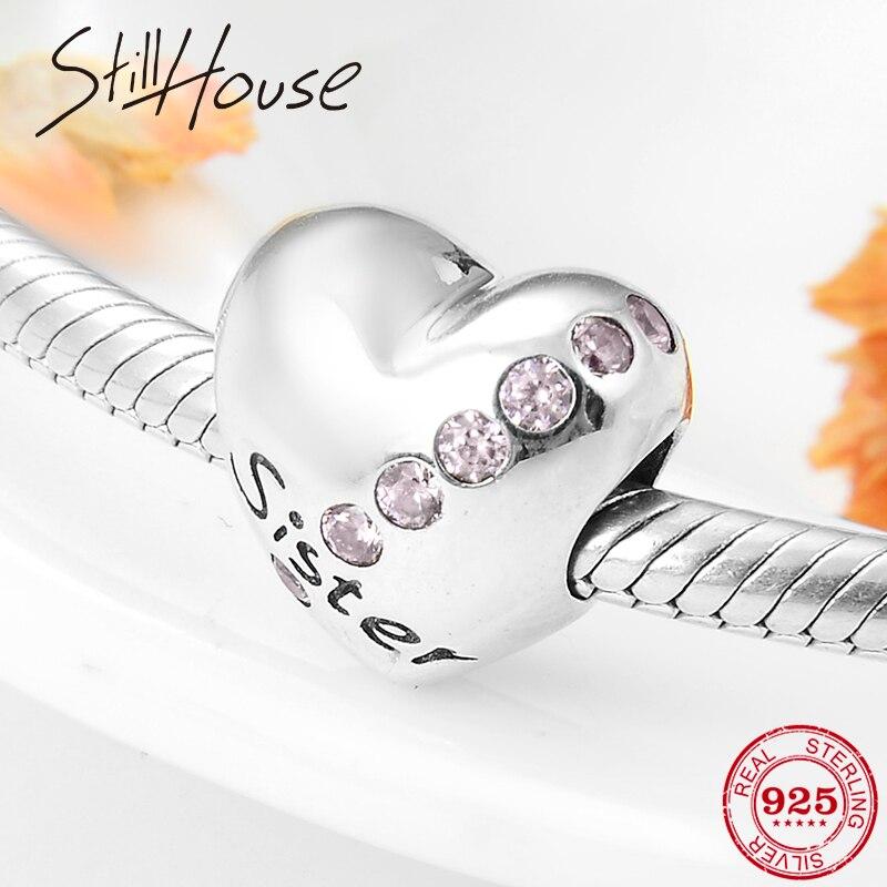 Nueva plata esterlina 925 dulce hermana corazón pink CZ Charm Fit Original pulsera collar de accesorios de joyería haciendo