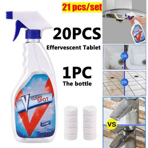 10/20/30 sztuk wielofunkcyjny środek czyszczący w środek czyszczący w sprayu narzędzie do czyszczenia domu V Clean Spot z 1 butelka