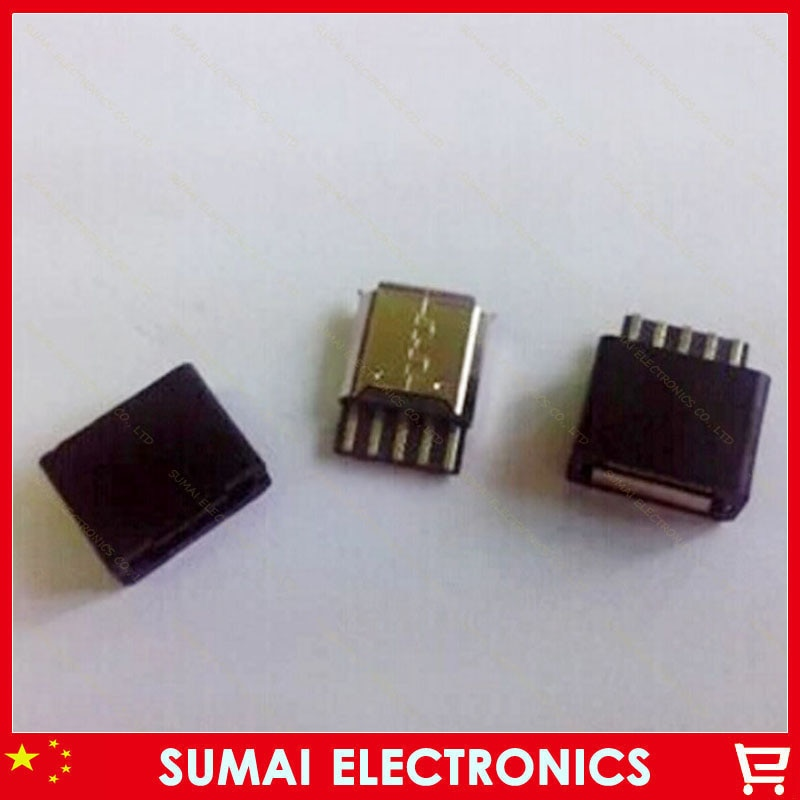 O envio gratuito de 30 conjuntos 2 em 1 tipo de fio de solda micro usb 5 p feminino plug usb-5p jack + plástico shell diy preto