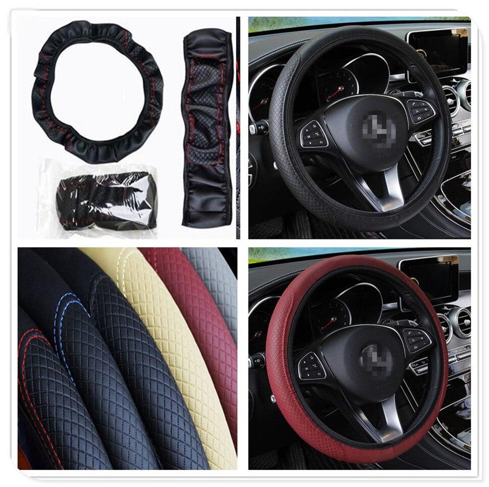 Coche rueda de 38 cm cubierta de cuero Artificial para Mercedes Benz GLC63 GLA45 GLA G650 E63 Clase E A170 a, B, C, E S clase
