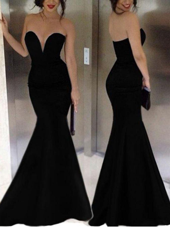 robe de soriee Cheap Sexy Swetheart Long Black Mermaid Evening Gowns 2020 Vestidos de Noiva Custom Long Prom Formal Party Drsses