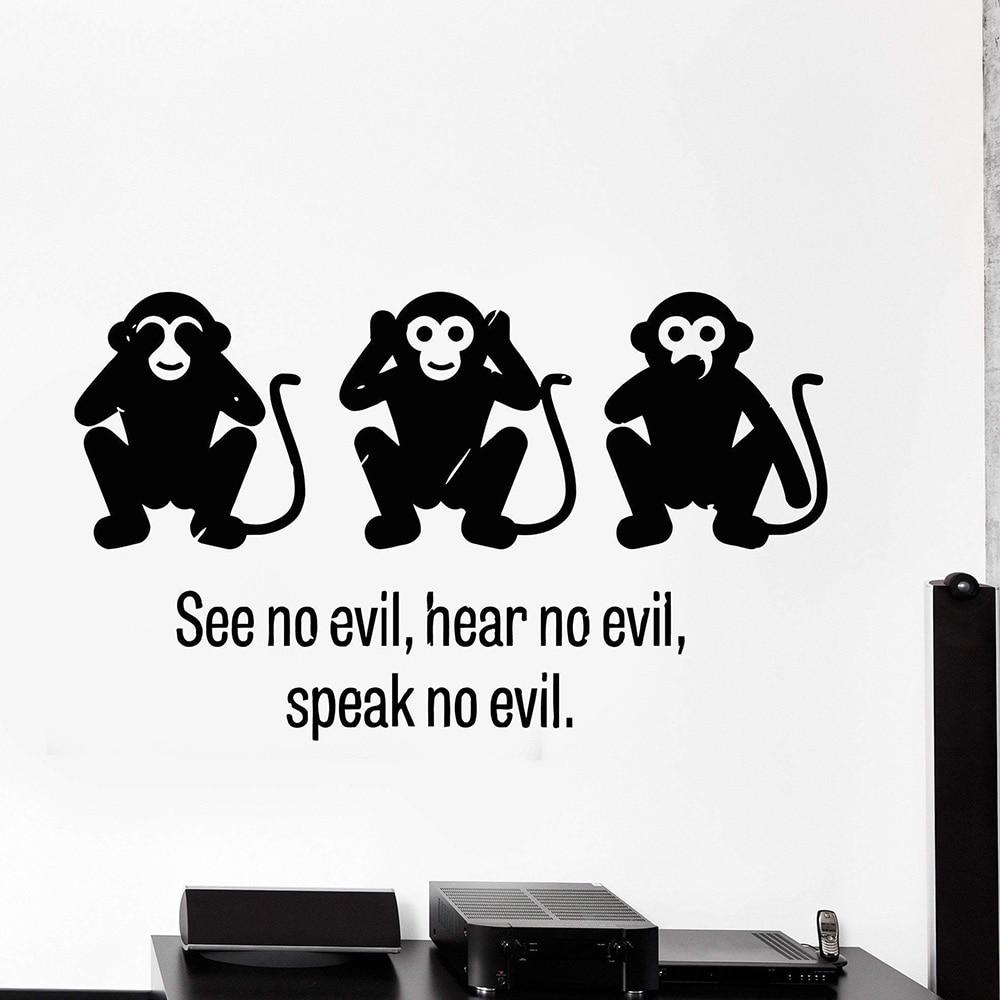 Three Wise Monkey See No Evil Hear No Evil Speak No Evil Vinyl Wall Decal Stickers Decorative Pattern Home Decor Art Mural