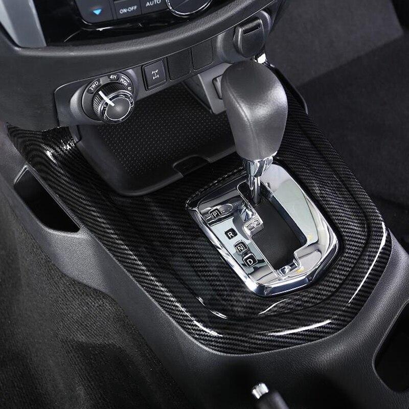 Para Nissan Navara NP300 2017 2018 2019 ABS fibra de carbono perilla de palanca de cambios de coche Marco de panel decoración cubierta embellecedor Accesorios