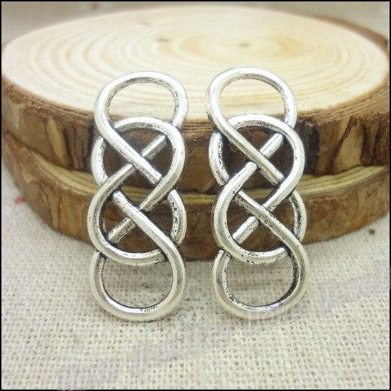 70pcs Charms double infinity symbol Connectors Pendant  Tibetan silver  Zinc Alloy Fit Bracelet  DIY Metal Jewelry Findings
