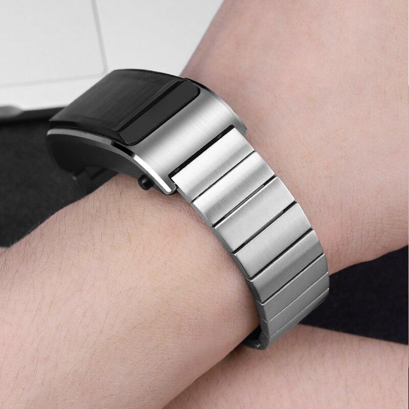 18mm pulseira de aço inoxidável para huawei talkband b5 relógio inteligente substituição pulseira borboleta fivela metal liberação rápida