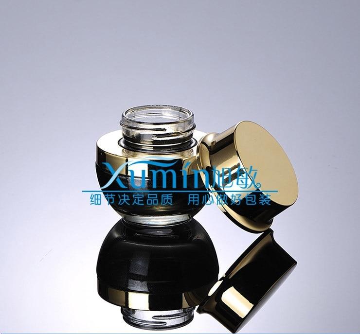 Frasco de crema de vidrio negro de 20g con tapa dorada brillante, frasco cosmético de 20 gramos, embalaje para muestra/crema de ojos, botella de vidrio de 20g