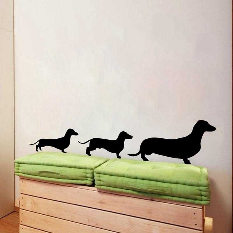 Freies verschiffen Dackel Familie Vinyl Wand Aufkleber aufkleber, weiner hund wand aufkleber aufkleber p2038