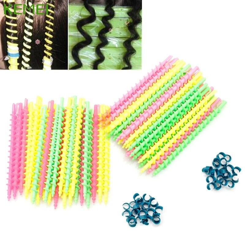 26Pcs Long Plastic Styling Barber Salon Tool Hairdressing Spiral Hair Perm Rod #330