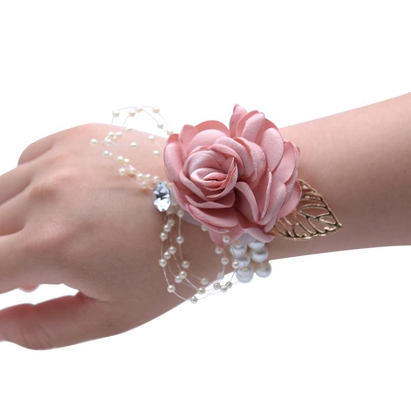 Flor de la mano del Prom flor roja mejor hombre boda Boutonniere Pin de la solapa del hombre novio ojal novia madre pulsera ramillete