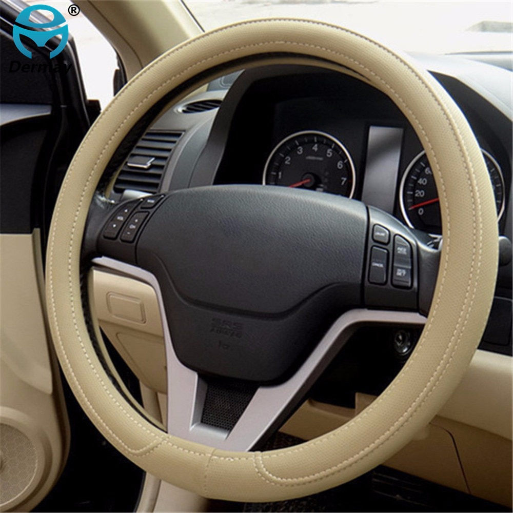 Envío gratis 1 Uds negro gris Beige PU Micro fibra de protector para volante de coche 0907 para KIA HYUNDAI TOYOTA HONDA RIO; LADA