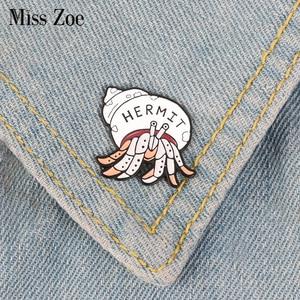 Eremita Caranguejo Pin Esmalte Animal Dos Desenhos Animados saco de Colarinho Da Camisa broche pin de Lapela Denim Jeans Introvertido Jóias Presente para Amigos