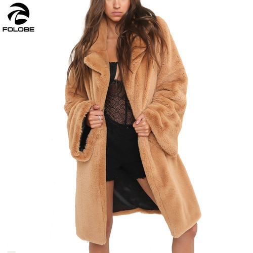 FOLOBE Fahsion women rabbit faux fur coat streetwear Autumn winter warm plush teddy coat Female plus size overcoat party