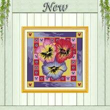 Pansy-peinture de décor floral coloré   Peinture imprimée sur toile, kits point de croix chinois DMC 11CT 14CT, ensemble de broderie