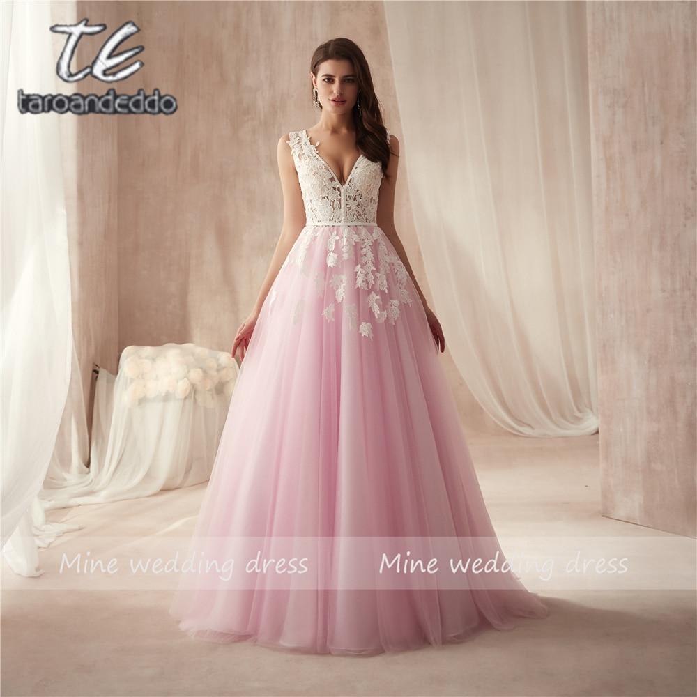 فستان سهرة مثير من التول ، ياقة على شكل V ، رسن ، دانتيل ، فستان حفلة أنيق ، خط a ، مع زينة ذيل المحكمة