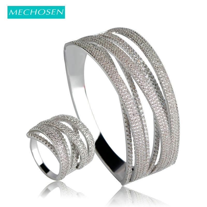 Conjuntos de anillos de brazalete clásicos y anchos de mechoose, latón multicapa, Color plateado, Zirconia cúbica, Pulseira, accesorios para Aros riverdale