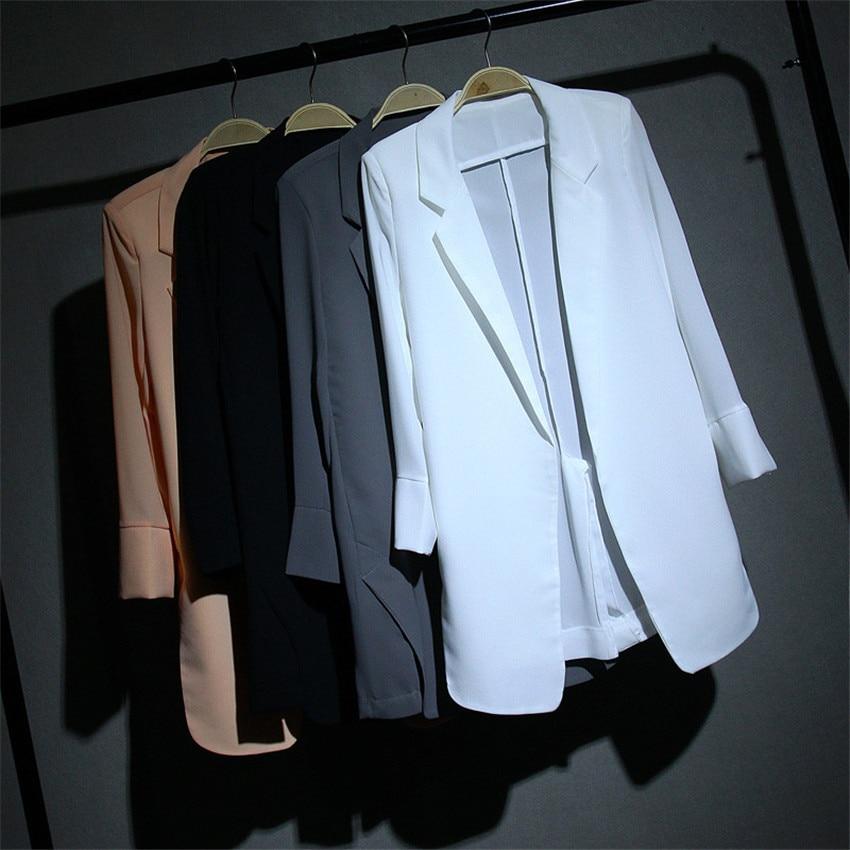 New Summer Big Size Women Slim Chiffon Blazer Formal Suits Spring Midi long Blazers Solid Lady Suit Thin Sun Protection Coat 364