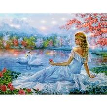 DIY Diamond Painting Full square Swan, Beauty Mosaic Pattren Cross Stitch Diamond Embroidery Scenery Home Decor
